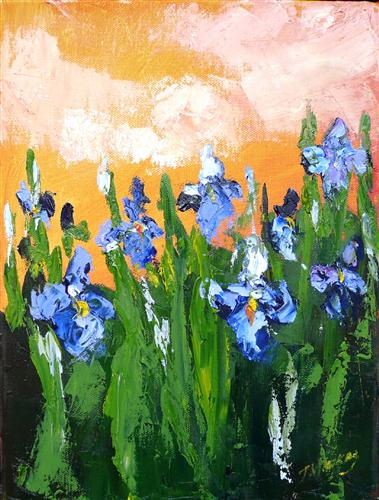 Original art for sale at UGallery.com | Iris at Dusk by JUDY MACKEY | $350 | Oil painting | 12' h x 9' w | http://www.ugallery.com/oil-painting-iris-at-dusk