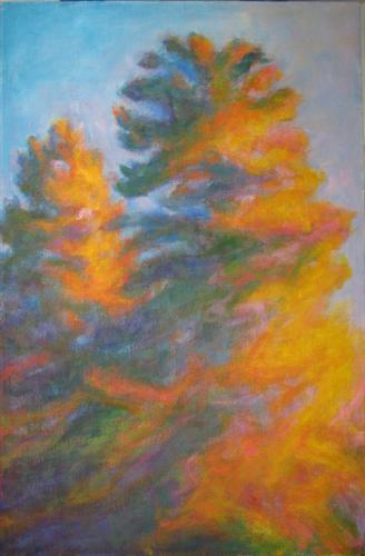 Original art for sale at UGallery.com | Sunset Conifers by NAOKO TADOTSU | $925 | Oil painting | 36' h x 24' w | http://www.ugallery.com/oil-painting-sunset-conifers