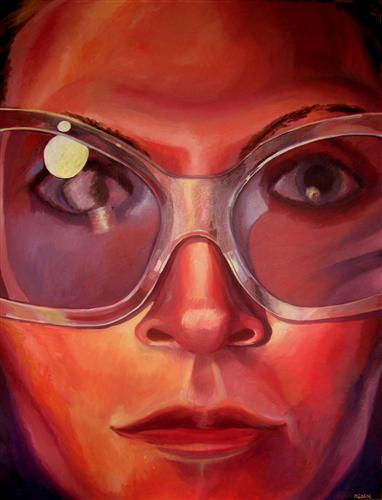 Original art for sale at UGallery.com | Self Portrait by RACHEL SRINIVASAN | $1,475 | Oil painting | 48' h x 36' w | http://www.ugallery.com/oil-painting-self-portrait-23382