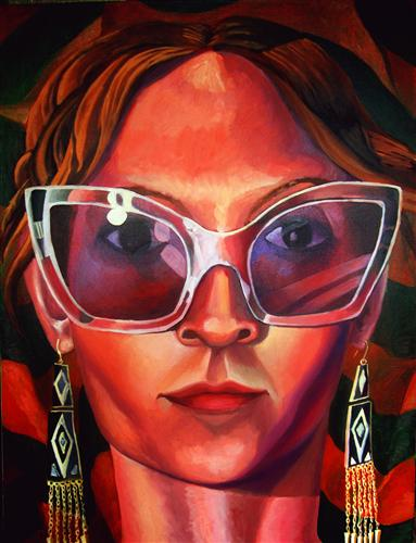 Discover Original Art by Rachel Srinivasan | Self Portrait with Glasses oil painting | Art for Sale Online at UGallery