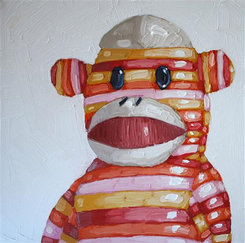 Discover Original Art by Nicole Newsted | Sock Monkey oil painting | Art for Sale Online at UGallery