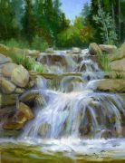Original art for sale at UGallery.com | Waterfall on Lake Creek Trail by Cecy Turner | $500 | oil painting | http://www.ugallery.com/oil-painting-waterfall-on-lake-creek-trail