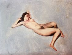 Original art for sale at UGallery.com | Tiny Nude by Sara Sisun | $450 | oil painting | http://www.ugallery.com/oil-painting-tiny-nude