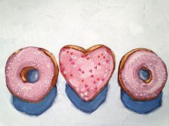 Original art for sale at UGallery.com | Three Doughnuts by Nicole Newsted | $1,075 | oil painting | http://www.ugallery.com/oil-painting-three-doughnuts