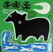 Original art for sale at UGallery.com | Black Bear with Fish by Jessica JH Roller | $550 | acrylic painting | http://www.ugallery.com/acrylic-painting-black-bear-with-fish