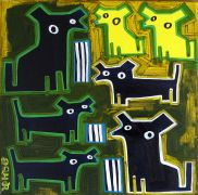 Discover Original Art by Jessica JH Roller | Seven Dogs acrylic painting | Art for Sale Online at UGallery