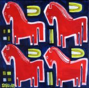 Original art for sale at UGallery.com | Four Red Ponies by Jessica JH Roller | $425 | acrylic painting | http://www.ugallery.com/acrylic-painting-four-red-ponies