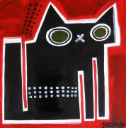 Original art for sale at UGallery.com | Spotted Black Sugarcube by Jessica JH Roller | $275 | acrylic painting | http://www.ugallery.com/acrylic-painting-spotted-black-sugarcube