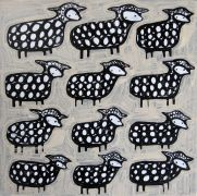 Original art for sale at UGallery.com | Twelve Sheep by Jessica JH Roller | $275 | acrylic painting | http://www.ugallery.com/acrylic-painting-twelve-sheep