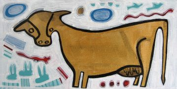 Original art for sale at UGallery.com | Golden Cow by Jessica JH Roller | $475 | acrylic painting | http://www.ugallery.com/acrylic-painting-golden-cow