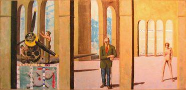 Architecture art,Surrealism art,mixed media artwork,Dayroom/William, Curtiss, Bunny