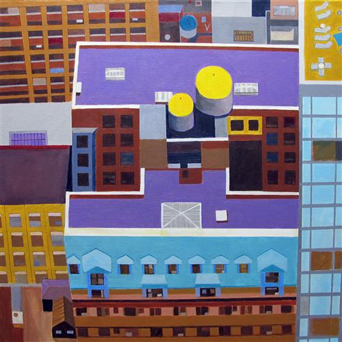 Original art for sale at UGallery.com | Midtown NYC Rooftop by TONI SILBER-DELERIVE | $3,525 | Acrylic painting | 30' h x 30' w | http://www.ugallery.com/acrylic-painting-midtown-nyc-rooftop