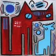 Original art for sale at UGallery.com | Big Cat, Little Dog by Jessica JH Roller | $550 | acrylic painting | http://www.ugallery.com/acrylic-painting-big-cat-little-dog