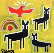 Original art for sale at UGallery.com | Three Black Deer and Hawk by Jessica JH Roller | $275 | acrylic painting | http://www.ugallery.com/acrylic-painting-three-black-deer-and-hawk