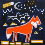 Original art for sale at UGallery.com | Fox, Bat and Comet by Jessica JH Roller | $275 | acrylic painting | http://www.ugallery.com/acrylic-painting-fox-bat-and-comet