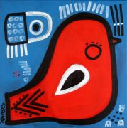 Original art for sale at UGallery.com | Red Bird on Blue by Jessica JH Roller | $425 | acrylic painting | http://www.ugallery.com/acrylic-painting-red-bird-on-blue