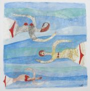 Original art for sale at UGallery.com | Swimmers by Scott Bergey | $225 | mixed media artwork | http://www.ugallery.com/mixed-media-artwork-swimmers