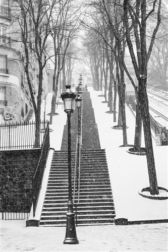 Original art for sale at UGallery.com | Montmartre Stairs in the Snow by REBECCA PLOTNICK | $195 |  | ' h x ' w | http://www.ugallery.com/photography-montmartre-stairs-in-the-snow