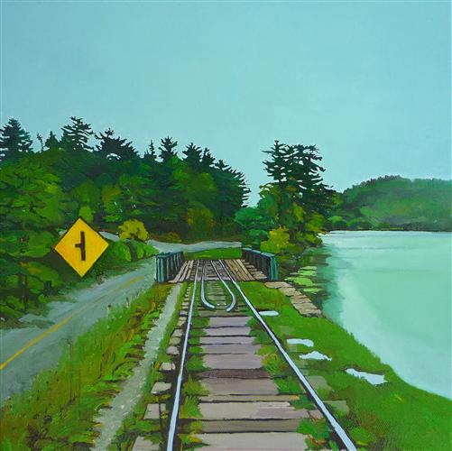 Original art for sale at UGallery.com | Tracks with Yellow Sign by JULIE GOULDING | $500 | Oil painting | 12' h x 12' w | http://www.ugallery.com/oil-painting-tracks-with-yellow-sign