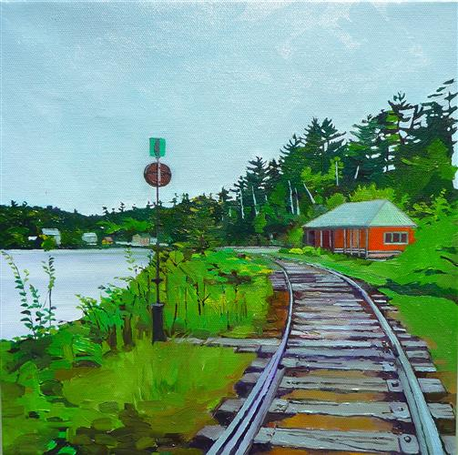 Original art for sale at UGallery.com | Tracks with Red Station by JULIE GOULDING | $500 | Oil painting | 12' h x 12' w | http://www.ugallery.com/oil-painting-tracks-with-red-station