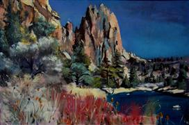 Original art for sale at UGallery.com | Smith Rocks & the Crooked River by Sidonie Caron | $3,300 | acrylic painting | http://www.ugallery.com/acrylic-painting-smith-rocks-the-crooked-river