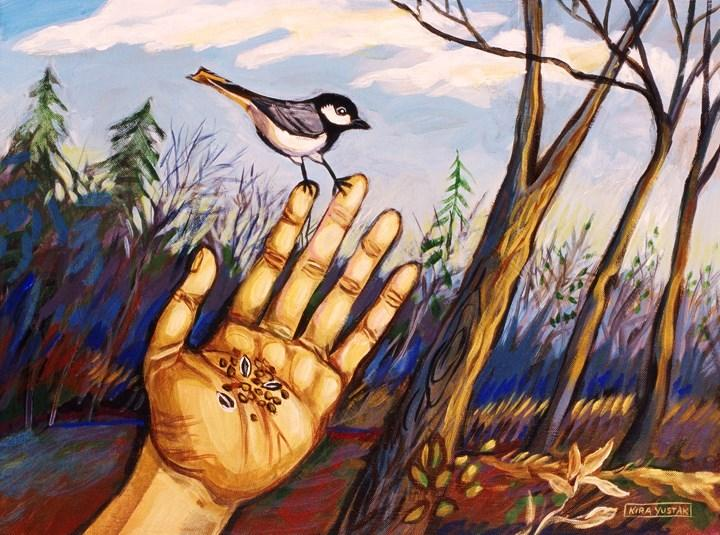 Original art for sale at UGallery.com | Chickadee by KIRA YUSTAK | $475 | Acrylic painting | 18' h x 24' w | http://www.ugallery.com/acrylic-painting-chickadee