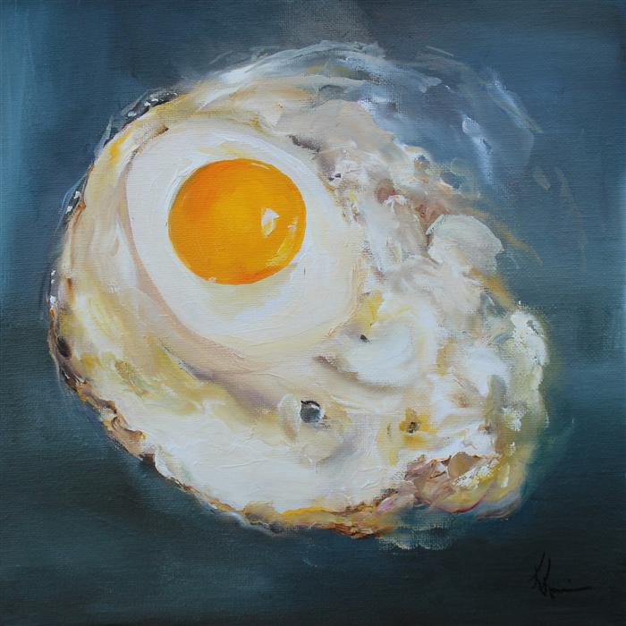 Original art for sale at UGallery.com | Fried Egg by KRISTINE KAINER | $425 | Oil painting | 10' h x 10' w | http://www.ugallery.com/oil-painting-fried-egg