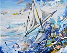 Discover Original Art by Piero Manrique | Sailing acrylic painting | Art for Sale Online at UGallery