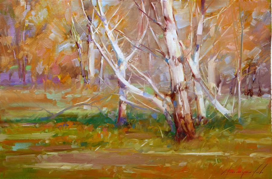 Discover Original Art by Vahe Yeremyan | Autumn Woods oil painting | Art for Sale Online at UGallery