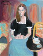 Original art for sale at UGallery.com | Girl in the Cafe by Carolyn Schlam | $2,100 | oil painting | http://www.ugallery.com/oil-painting-girl-in-the-cafe