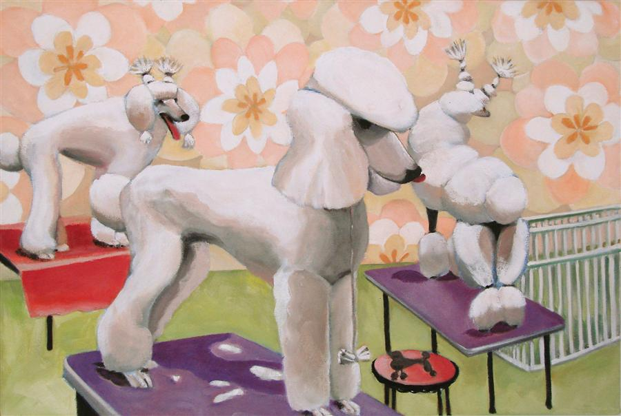 Original art for sale at UGallery.com | Three Poodles by HELENE ENGLISH | $1,500 | Oil painting | 16' h x 24' w | http://www.ugallery.com/oil-painting-three-poodles