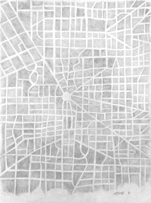 Discover Original Art by Michael Wedge | Imaginary City Map 5 pencil drawing | Art for Sale Online at UGallery