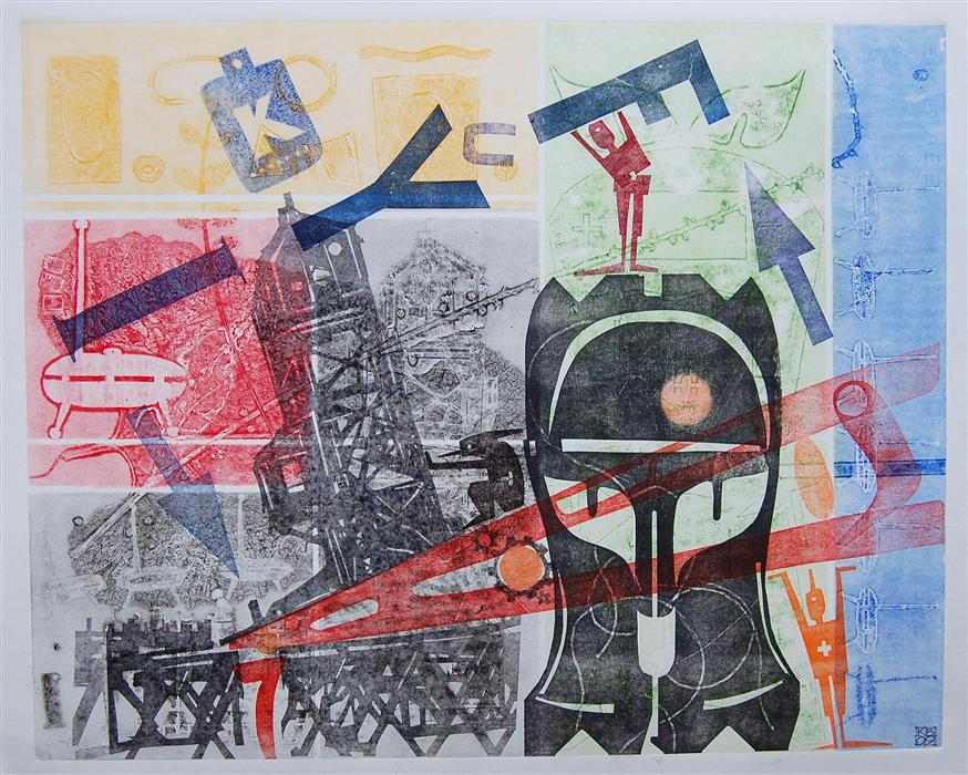 Original art for sale at UGallery.com | HostileTakeover by KARIN BRUCKNER | $525 | Printmaking | 18' h x 22' w | http://www.ugallery.com/printmaking-hostiletakeover