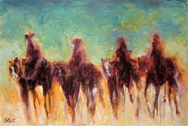 Discover Original Art by Elliot Coatney | Four Riders I acrylic painting | Art for Sale Online at UGallery