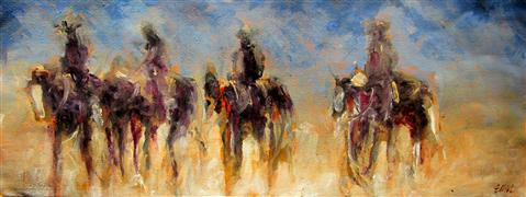 Discover Original Art by Elliot Coatney | Four Riders II acrylic painting | Art for Sale Online at UGallery