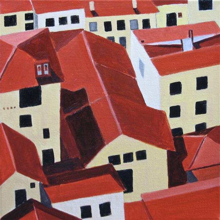 Discover Original Art by Toni Silber-Delerive | Florence Rooftops acrylic painting | Art for Sale Online at UGallery