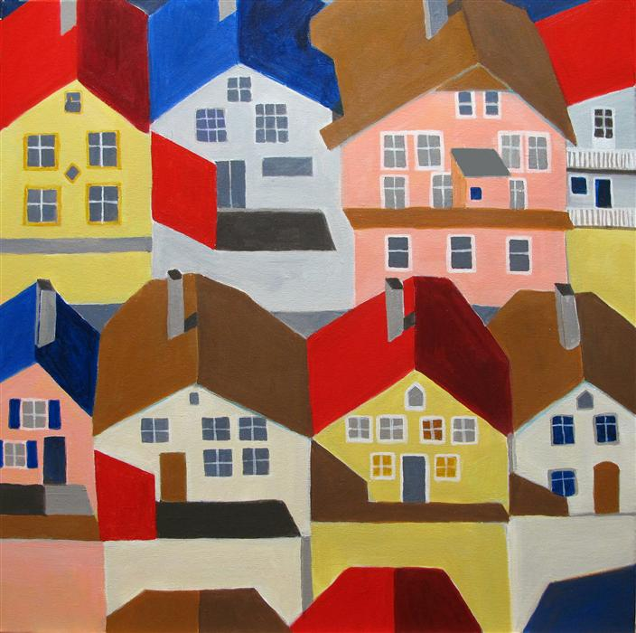 Original art for sale at UGallery.com | Bergen, Norway by TONI SILBER-DELERIVE | $1,375 | Acrylic painting | 24' h x 24' w | http://www.ugallery.com/acrylic-painting-bergen-norway