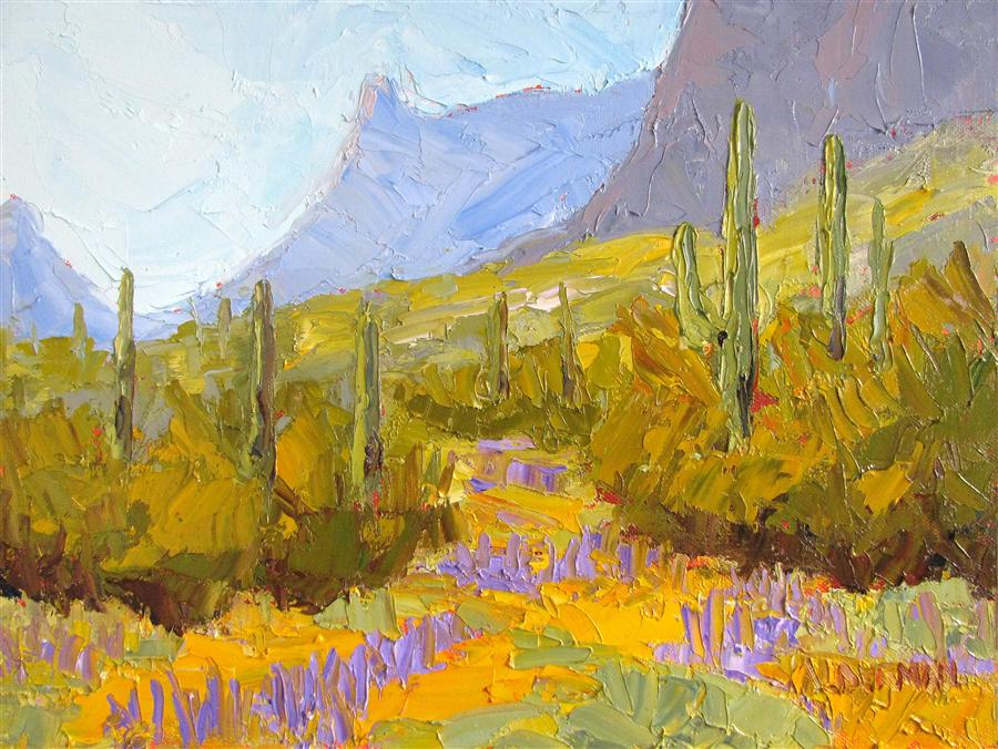 Original art for sale at UGallery.com | Picacho Peak in Bloom by ROGER ALDERMAN | $500 | Oil painting | 9' h x 12' w | http://www.ugallery.com/oil-painting-picacho-peak-in-bloom