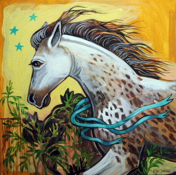 Original art for sale at UGallery.com | Freckled Horse by KIRA YUSTAK | $500 | Acrylic painting | 24' h x 24' w | http://www.ugallery.com/acrylic-painting-freckled-horse