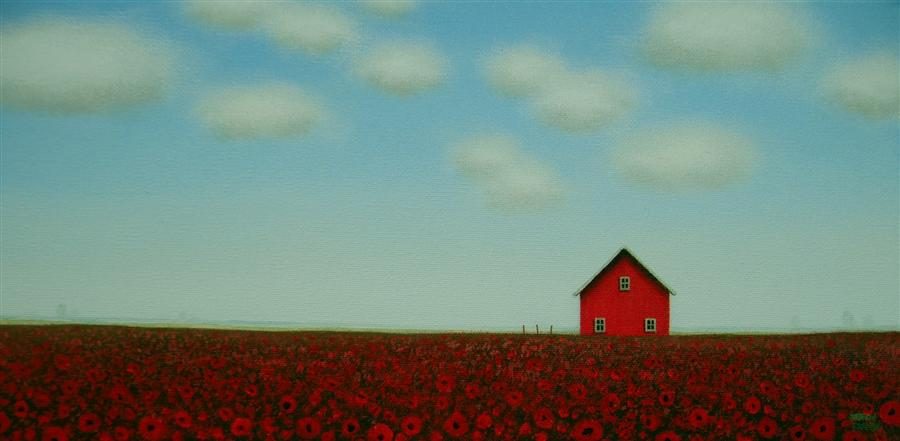 Original art for sale at UGallery.com | Poppies by the Red Barn by SHARON  FRANCE | $450 | Acrylic painting | 8' h x 16' w | http://www.ugallery.com/acrylic-painting-poppies-by-the-red-barn