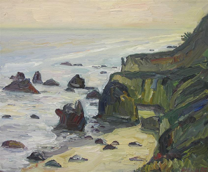 Original art for sale at UGallery.com | Matador Beach by JOHN KILDUFF | $875 | Oil painting | 20' h x 24' w | http://www.ugallery.com/oil-painting-matador-beach