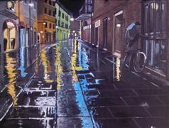 Original art for sale at UGallery.com | It Was a Dark and Rainy Night... by Patricia Freeman | $250 | acrylic painting | http://www.ugallery.com/acrylic-painting-it-was-a-dark-and-rainy-night