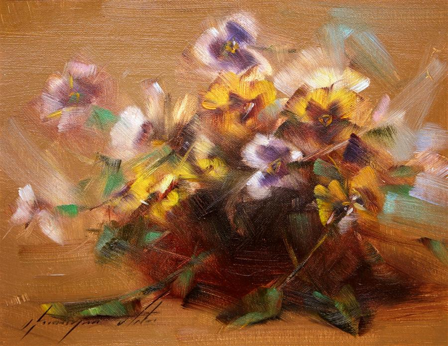 Discover Original Art by Vahe Yeremyan | Vase of Violas oil painting | Art for Sale Online at UGallery
