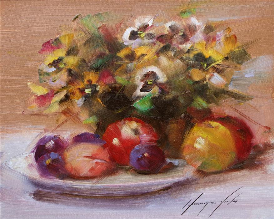 Discover Original Art by Vahe Yeremyan | Autumn Still Life oil painting | Art for Sale Online at UGallery