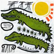 Original art for sale at UGallery.com | Alligators with Cypress by Jessica JH Roller | $300 | acrylic painting | http://www.ugallery.com/acrylic-painting-alligators-with-cypress