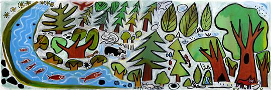 Original art for sale at UGallery.com | Trees and River by Jessica JH Roller | $2,400 | acrylic painting | http://www.ugallery.com/acrylic-painting-trees-and-river