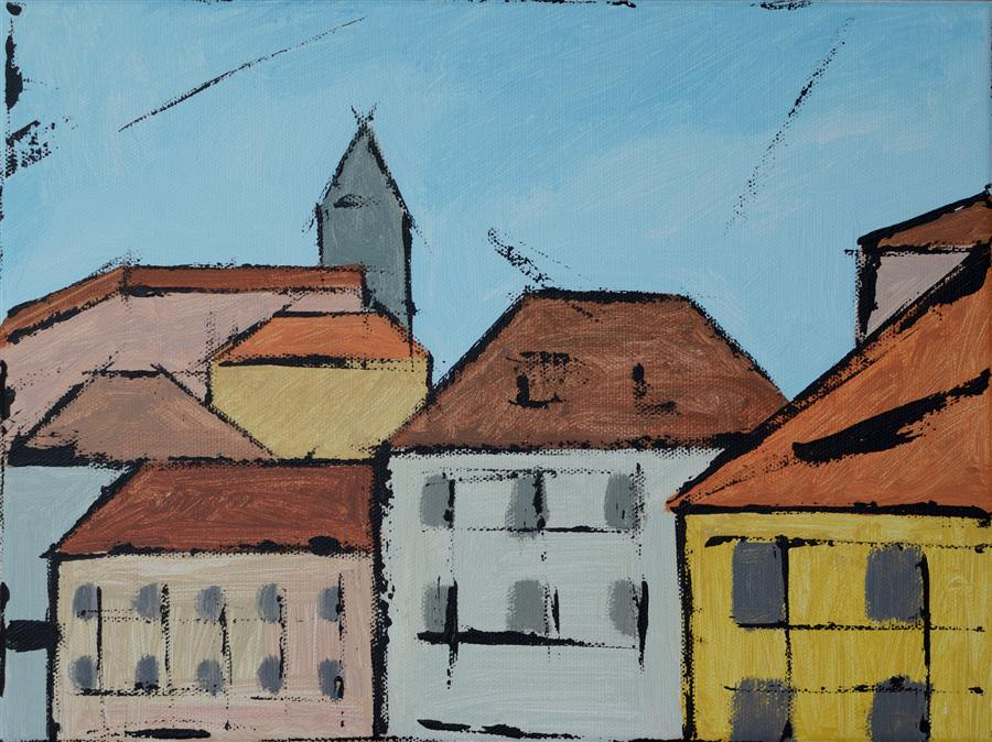Original art for sale at UGallery.com | Prague by TANYA GRABKOVA | $250 | Acrylic painting | 9' h x 12' w | http://www.ugallery.com/acrylic-painting-prague