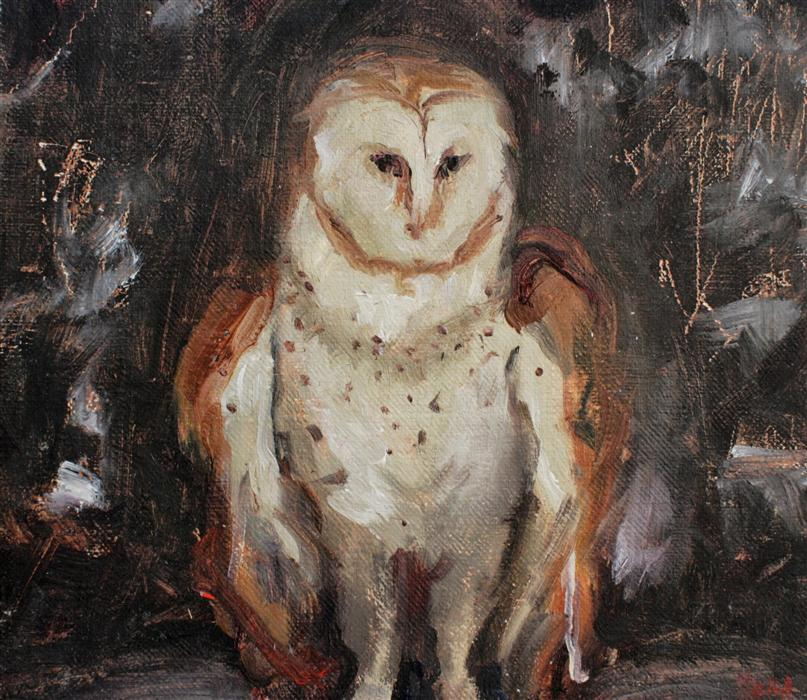 Original art for sale at UGallery.com | Owl by SARA SISUN | $300 | Oil painting | 7' h x 8' w | http://www.ugallery.com/oil-painting-owl