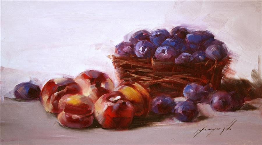 Original art for sale at UGallery.com | Still Life with Plums by VAHE YEREMYAN | $400 | Oil painting | 10' h x 18' w | http://www.ugallery.com/oil-painting-still-life-with-plums