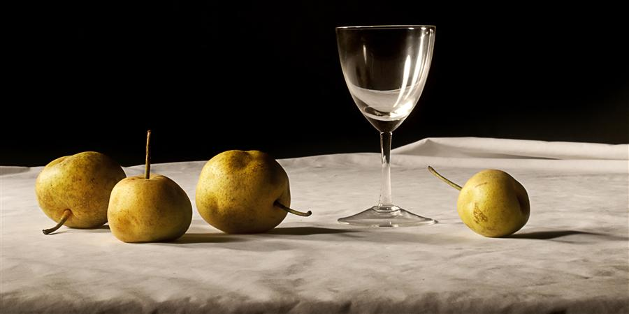 Original art for sale at UGallery.com | Still Life: Pears with Wine Glass by JUSTIN WHEELER | $245 |  | ' h x ' w | http://www.ugallery.com/photography-still-life-pears-with-wine-glass